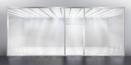 Exhibition in a shopping gallery. Empty shop window. Place for exhibition. Vector illustration.