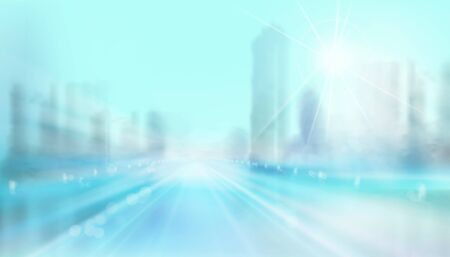 Road to the city. High skyscrapers. Abstract panoramic view. Blurred background. Cityscape. Vector illustration. Ilustracja