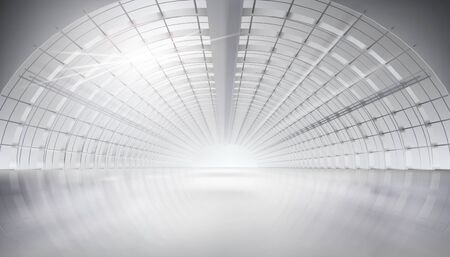 Rays of light passing through the ceiling structure. Long large interior. Hall construction. White background. Vector illustration.