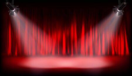 Auditorium de théâtre avec rideau rouge. Spectacle sur scène. Projecteurs sur fond rouge. Illustration vectorielle.