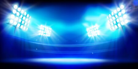 Estadio iluminado por focos. Etapa sobre fondo azul. Ilustración de vector abstracto.