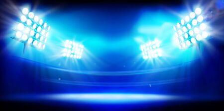 Stadio illuminato da riflettori. Fase su sfondo blu. Illustrazione vettoriale astratta.