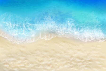 Waves on the seashore. View from the top of the sandy beach. Summer day. Vector illustration.