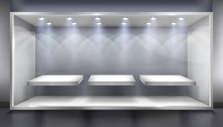 Shelves for store display. Empty place for exhibition in a shop illuminated by the spotlights. Vector illustration.