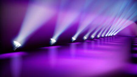 Lichtshow auf der Bühne. Leerer Platz für die Ausstellung. Laufsteg für Mode. Vektor-Illustration. Vektorgrafik