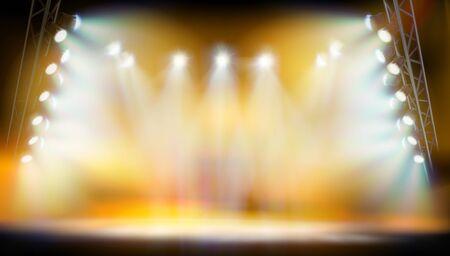 Podio sul palco durante lo spettacolo. Sfondo giallo. Pista di moda. Illustrazione vettoriale.