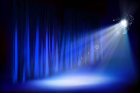 Theater stage podium during the show. Blue curtain. Theatrical performance. Vector illustration. Ilustração