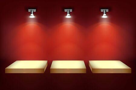 Étagères pour l'affichage du magasin. Fond rouge. Lieu d'exposition vide dans une galerie marchande éclairée par les projecteurs. Illustration vectorielle. Vecteurs