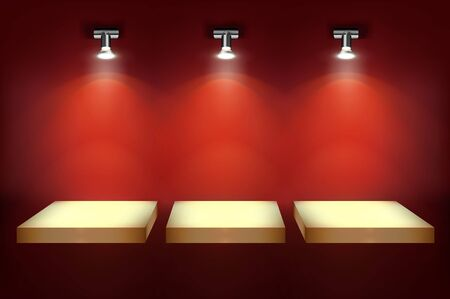 Shelves for store display. Red background. Empty place for exhibition in a shop gallery illuminated by the spotlights. Vector illustration.