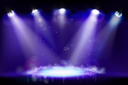 Stage illuminated by spotlights during the concert. Show light. Place for the exhibition. Abstract background. Vector illustration.
