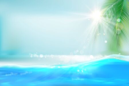 View of the sunny beach with a palm tree. Blue ocean. Tropical resort. Vector Illustration. Zdjęcie Seryjne - 132508294