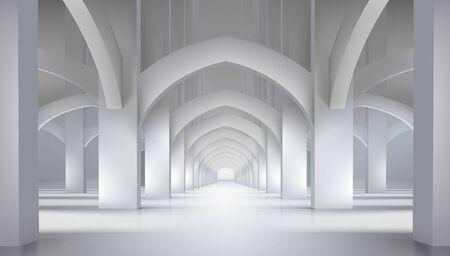 Arcadas en el antiguo castillo. Salón largo en interior histórico. Ilustración de vector.