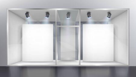 Vitrine éclairée avec projecteurs dans le centre commercial. Lieu d'exposition. Fond blanc. Illustration vectorielle. Vecteurs