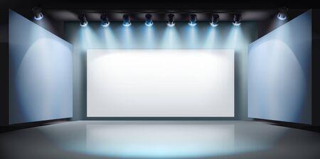 Mostrar en galería de arte. Pantalla de proyección en el escenario. Espacio libre para publicidad. Ilustración vectorial. Ilustración de vector