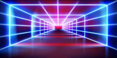 Tunnel illuminato. Effetti di luce sul palco durante lo spettacolo. Luci al neon colorate. Pista di moda. Illustrazione vettoriale. Vettoriali