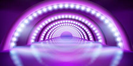 Spettacolo sul palco. Effetti di luce. Pista di moda. Sfondo viola. Illustrazione vettoriale.
