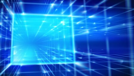 Virtual projection screen. Laser lighting effects. Show on the stage. Blue background. Vector illustration. Ilustração Vetorial