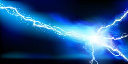 Grande scarica elettrica. Energia elettrica. Illuminazione di calore. Effetti di luce. Illustrazione vettoriale. Vettoriali