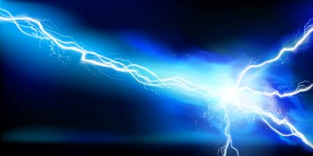 Large electrical discharge. Electrical energy. Heat lighting. Light effects. Vector illustration. Vetores