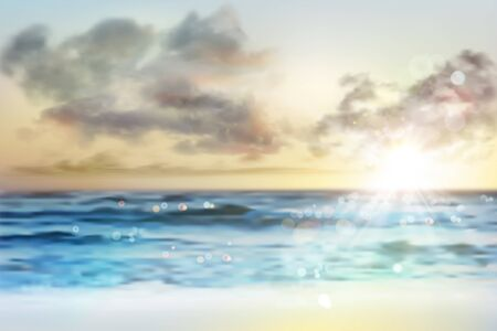 Sunrise over the sea. Empty sandy beach in summer. Waves on the seashore. Vector illustration.  イラスト・ベクター素材