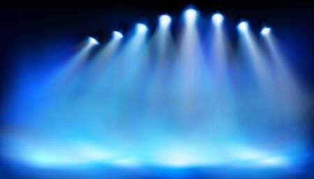 Stage platform illuminated by spotlights. Place for the exhibition. Blue background. Abstract vector illustration.