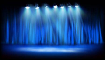 Piattaforma teatrale con tenda blu. Spettacolo sul palco. Faretti su sfondo blu. Illustrazione vettoriale.