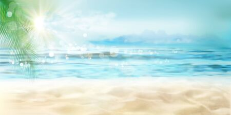 Empty sandy beach in summer. Waves on the seashore. Sunrise over the sea. Vector illustration.