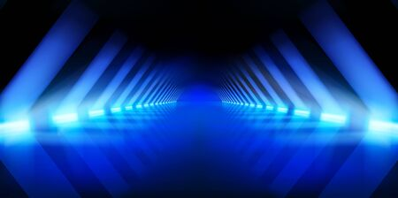 Illuminated hall. Dark corridor with brightly lit neon lamps. Lighting effects, show. Blue background. Vector illustration. Vettoriali