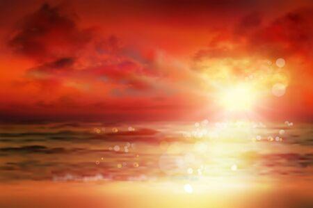Sunset over the sea. Empty sandy beach in summer. Waves on the seashore. Vector illustration.