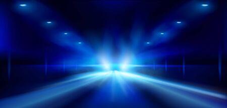 Strada nella nebbia di notte. Faretti su sfondo scuro. Fondo blu astratto. Spettacolo sul palco. Illustrazione vettoriale.