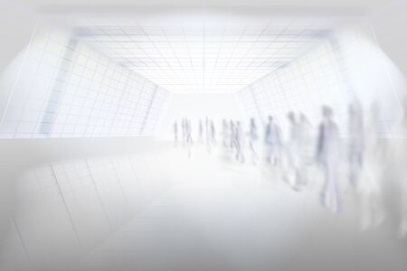 People walking through the underground passage. A long tunnel. Shopping gallery corridor. A large hall. Vector illustration. Ilustracje wektorowe