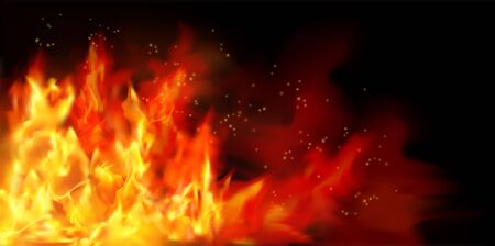 Fire flames on black background. Graphic elements for the design. Vector illustration.