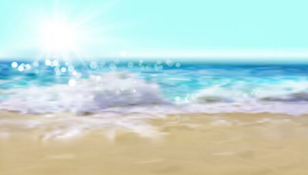 An empty sandy beach in the early morning. Waves on the seashore. Summer. Dream vacation spot. Abstract vector illustration.