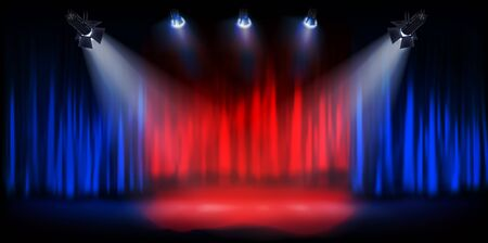 Show on the stage. Theater curtain before the performance. Spotlights on dark background. Vector illustration.