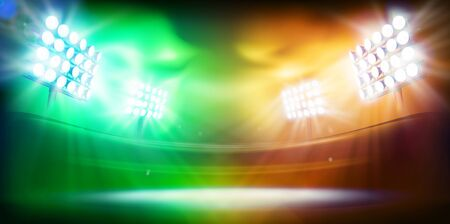 Show on stage. Bright floodlights illuminating the sports stadium. Colorful background. Sports games. Abstract vector illustration.