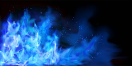 Blue fire flames on black background. Graphic elements for the design. Vector illustration. Иллюстрация