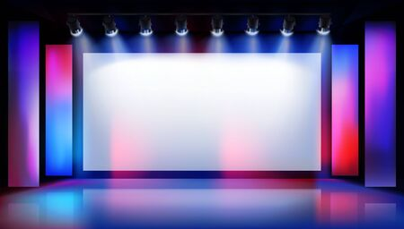Show in art gallery. Large projection screen on the stage. Free space for advertising. Colorful background. Vector illustration.