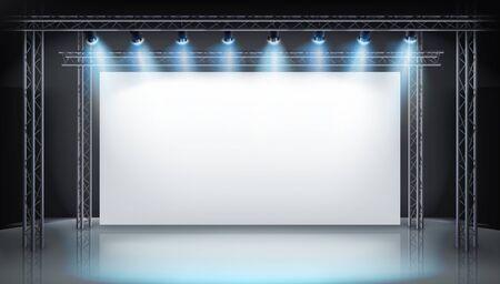 Stoisko ekspozycyjne na targach. Duży ekran projekcyjny na scenie. Pokaż w galerii sztuki. Wolne miejsce na reklamę. Ilustracja wektorowa.