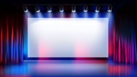 Show on the stage. Large projection screen in the cinema. Traveler curtain. Free space for advertising. Colorful background. Vector illustration.