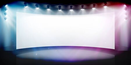 Projection screen in art gallery. Free space for advertising. Show on the stage. Abstract background. Vector illustration.