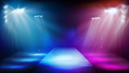 Stage podium illuminated by spotlights. Empty runway before fashion show. Colorful background. Vector illustration.