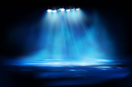 Brightly lit street lamps in the fog. Show on stage. City at night. Spotlights on blue background. Vector illustration.