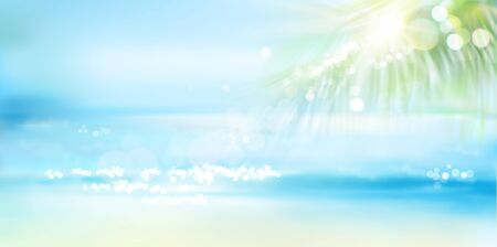 Sandy beach with palm tree in summer. Waves on the seashore. Sunrise over the sea. Vector illustration. Иллюстрация