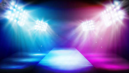 The stage in the stadium illuminated by floodlights. Empty runway before fashion show. Colorful background. Vector illustration.