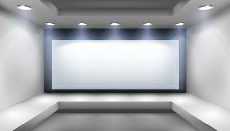Projection screen in art gallery. Free space for advertising in the showroom. Show on the stage. Abstract background. Vector illustration. Иллюстрация