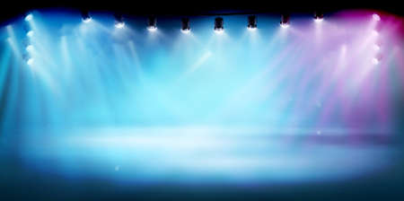 The stage illuminated by spotlights. The show on the stadium. Free space for advertising or displaying products. Vector illustration.