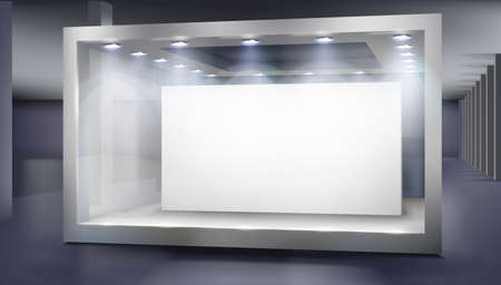 Empty shop window in a shopping mall. Place for the exhibition or product display. Vector illustration.