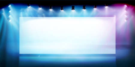 Large screen on the stage. Free space for advertising or displaying products. Show in art gallery. Colorful background. Vector illustration.
