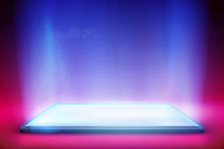 Smartphone light screen. Computer or tablet display. Colorful background. Vector illustration. Иллюстрация