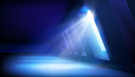 Large room lit by sunlight. Light effect on a blue dark background. Show on stage. Vector illustration.